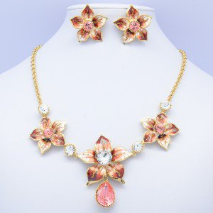 Flower Necklace Earring Set W/ Rose Swarovski Crystals Gold Tone