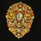 """Hot Swarovski Crystals Big Drop Topaz Pendant Flower Brooch Pin 4.9"""""""