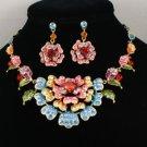 Swarovski Crystals Pretty Multicolour  Flower Necklace Earring Set