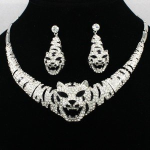 Clear Swarovski Crystals Silver Tone Vivid Animal Tiger Necklace Earring Set