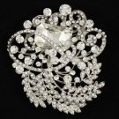 "Clear Flower Pendant Brooch Pin 3.1"" W/ Rhinestone Crystals"