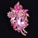 "Vintage Style 2.9"" Pink Flower Pendant Brooch Broach Pin W/ Rhinestone Crystals"