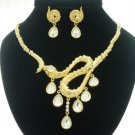 New Style Animal Gold Snake Necklace Earring Set W/ Clear Swarovski Crystals