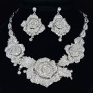 New Fancy Flower Necklace Earring Set W/ Clear Swarovski Crystals