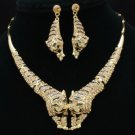 Wild Animal Brown 2 Tiger Necklace Earring Set W/ Swarovski Crystals