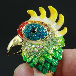 Swarovski Crystals Cocktail Bird Cockatoo Parrot Ring USA:8#,UK P 1/2