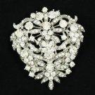 """Rhinestone Crystals New Clear Flower Brooch Broach Pin 2.5"""" For Wedding"""