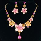 Swarovski Crystals Pink Flower Butterfly Necklace Earring Set