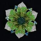 "New Hot Beautiful Green Flower Brooch Pin 4.1"" W/ Rhinestone Crystals"