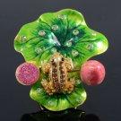 Swarovski Crystals Lotus Leaf Brown Frog Cocktail Ring USA:6#, UK:L 1/2