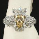 Clear Swarovski Crystals Crown Skull  Bracelet Bangle Cuff