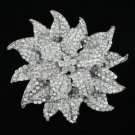 "4.1"" Clear Swarovski Crystals Leaf  Flower Brooch Pin"