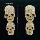 Swarovski Crytals Trendy Drop Clear Dangle Pierced Skull Earring For Halloween