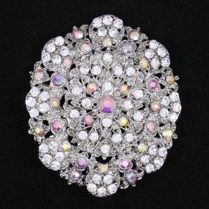 "Swarovski Crystals Clear A/B Ellipse Flower Brooch Broach Pin 2.7"" For Wedding"