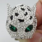 Swarovski Crystals High Quality Clear Panther Leopard Ring 9# W/ Green Eye