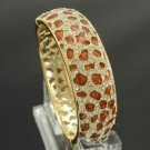 Rhinestone Crystals Gold Tone Brown Panther Leopard Texture Bracelet Bangle