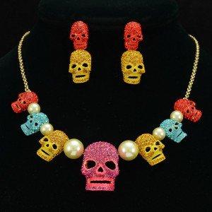 Rhinestone Crystals Imitation Pearl Multi Skeleton Skull Necklace Earring Set