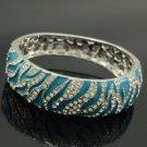 Swarovski Crystal Animal Blue Tiger Texture Bracelet Bangle