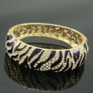 Gold Tone Trendy Purple Tiger Grain Bracelet Bangle W/ Swarovski Crystals