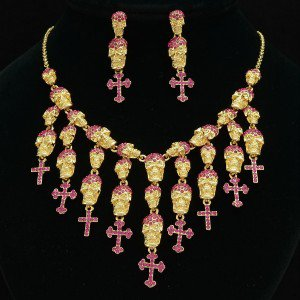 Lots Fuchsia Skeleton Skull Necklace Earring Set Swarovski Crystals Halloween