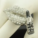 Silver Tone Lipstick Lip Ring Adjustable W/ Clear Rhinestone Crystals