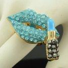 Gold Tone Indicolite Lipstick Lip Ring  Adjustable W/ Rhinestone Crystals