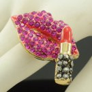 Gold Tone Pink Lipstick Lip Ring Adjustable W/ Rhinestone Crystals