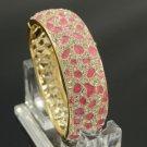 Rhinestone Crystals Gold Tone Pink Panther Leopard Texture Bracelet Bangle