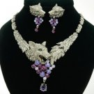 High-Quality Animal Wolf Necklace Earring Set W/ Purple Swarovski Crystals