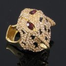 Swarovski Crystals High Quality Brown Panther Leopard Cocktail Ring Size 9#