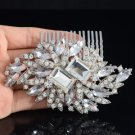 Bridal Flower Hair Comb Pieces W/ Clear Rhinestone Crystals For Wedding