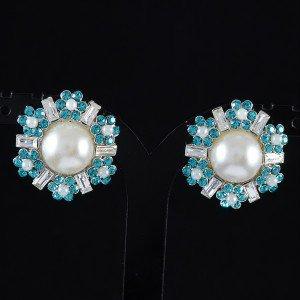 Pierced Faux Pearl Round Flower Earring W/ Blue Swarovski Crystals