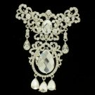 "Wedding Dangle Drop Clear Flower Brooch Broach 4.1"" W/ Rhinestone Crystals"