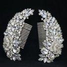 Flower Hair 2 Pieces Comb Bridal W/ Clear Rhinestone Crystals For Wedding