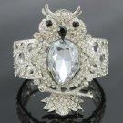 Fashion Drop Rhinestone Crystals Animal Elastic Clear Owl Bracelet Bangle
