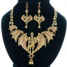 Gorgeous Grisly Belial Brown Skull Wings Necklace Earring Set Swarovski Crystals
