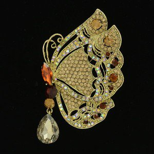 """New Rhinestone Crystals Brown Insect Scalewing Butterfly Brooch Broach Pin 3.4"""""""