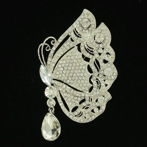"""Rhinestone Crystals Clear Insect Scalewing Butterfly Brooch Broach Pin 3.4"""""""