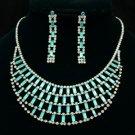 New Gorgeous Blue Oblong Flower Necklace Earring Set W/ Swarovski Crystals
