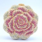 Bling Luxury Pink Rose Flower Clutch Evening Bag Purse W/ Swarovski Crystals