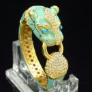 Gold Tone Blue Enamel Leopard Panther Bracelet Bangle W/ Clear Swarovski Crystal