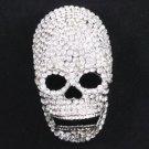 "Swarovski Crystals New Clear Cool Skull Brooch Pin 3.2"" For Halloween"