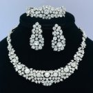 Wedding Clear Necklace Earring Ring Bracelet Set W/ Swarovski Crystals Bride