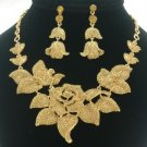 Leaf Brown Bud Rose Flower Necklace Earring Set W/ Swarovski Crystals