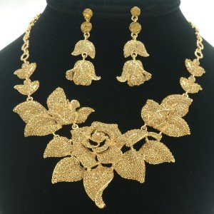 Leaf Brown Bud Rose Flower Necklace Earring Set W/ Swarovski Crystals