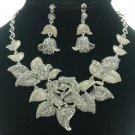 Leaf Gray Bud Rose Flower Necklace Earring Set W/ Swarovski Crystals