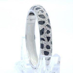 Black Enamel Leopard Grain Bracelet Bangle Cuff W/ Clear Swarovski Crystals