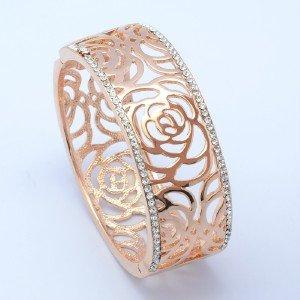 Clear Swarovski Crystals H-Quality Flower Bracelet Bangle Cuff