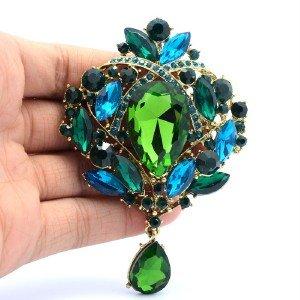 """Trendy Flower Brooch Broach Pin 3.5"""" W/ Green Rhinestone Crystals"""