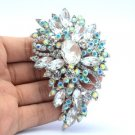 "Clear Brilliant Clear Flower Brooch Broach Pin 3.3"" Rhinestone Crystals Jewelry"